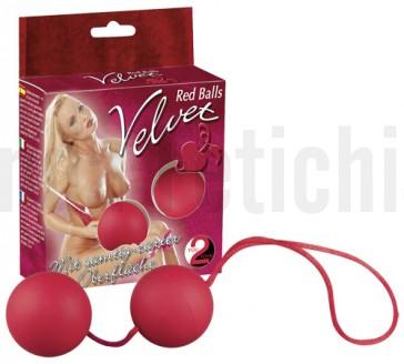 Bolas chinas rojas con tacto de terciopelo
