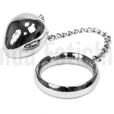 Cockring con cadena y bola anal