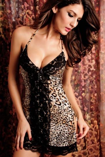 Babydoll leopardo y encaje negro