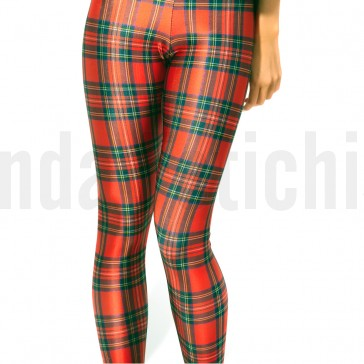 Leggings con estampado de tartan rojo