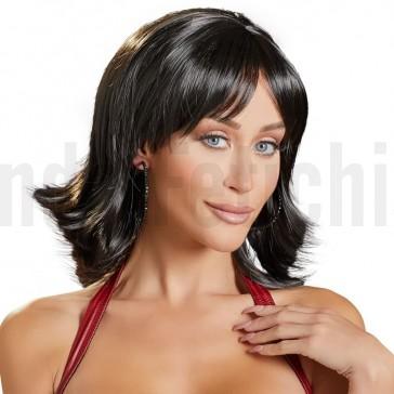 Peluca corta pelo castaño oscuro