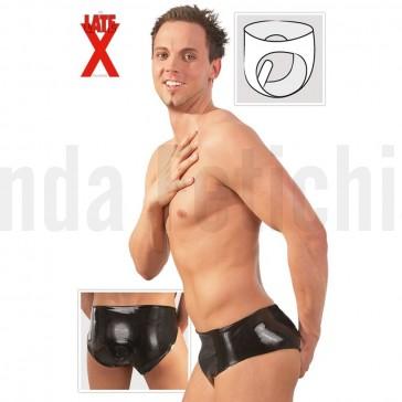 Slip negro de látex para hombre con dildo