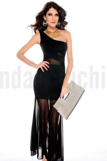Vestido negro asimetrico con transparencias