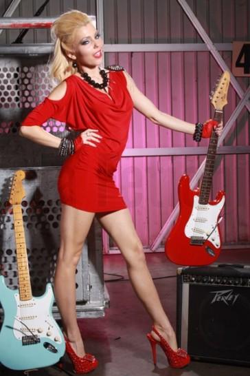 Vestido corto rock rojo