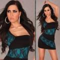 Vestido negro azul encaje-