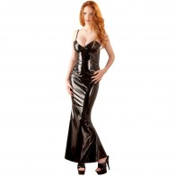Vestido largo de vinilo