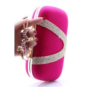 Bolso de fiesta clutch rosa con anillos