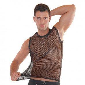 Camiseta negra de rejilla para hombre