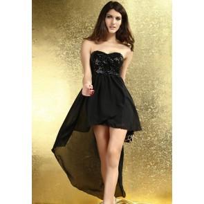 Vestido fiesta negro asimétrico