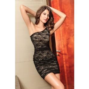 Vestido corto negro encaje