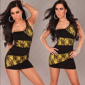 vestido negro amarillo encaje