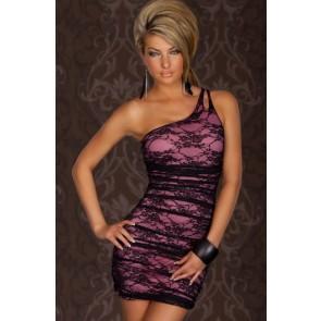 Vestido corto encaje lila