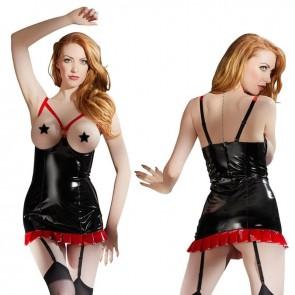 Vestido de vinilo rojo y negro