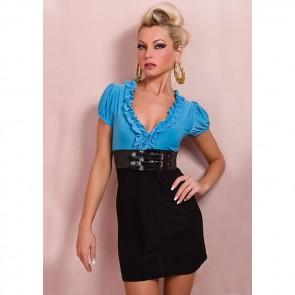 Vestido corto azul y negro con cinturon