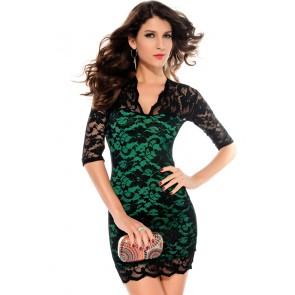Vestido verde encaje superpuesto