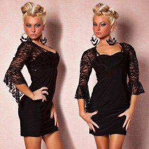 vestido corto negro torera encaje