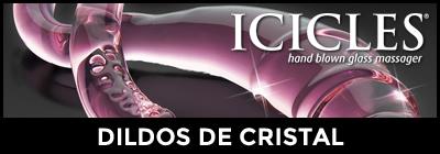 Dildos y vibradores de cristal irrompible Icicles y Glass Worxx